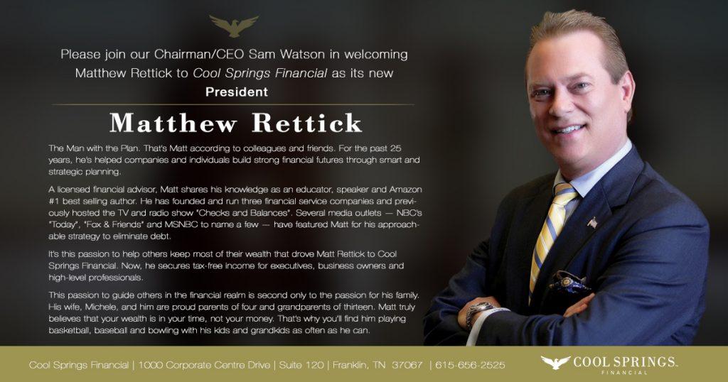 Matt Rettick Announcement
